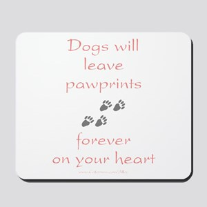 Dog Pawprints On The Heart Mousepad