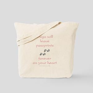 Dog Pawprints On The Heart Tote Bag
