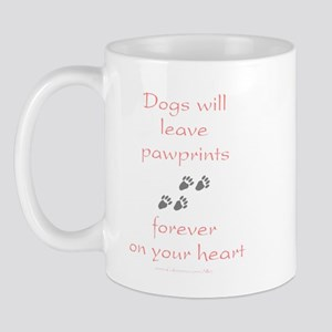 Dog Pawprints On The Heart Mug