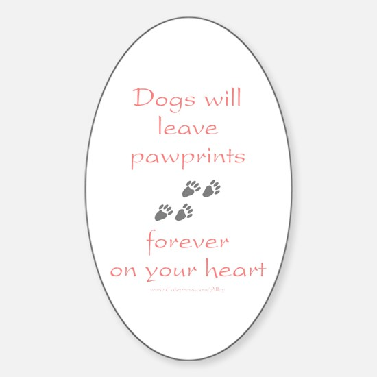 Dog Pawprints On The Heart Oval Decal