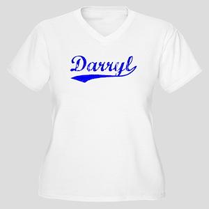 Vintage Darryl (Blue) Women's Plus Size V-Neck T-S