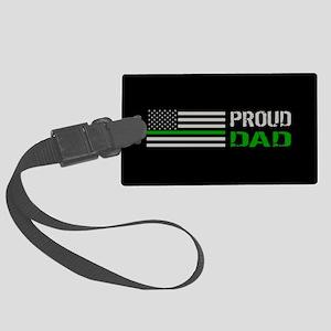 U.S. Flag Green Line: Proud Dad Large Luggage Tag