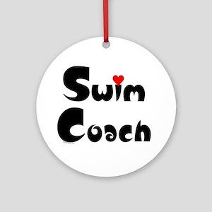 Swim Coach Heart Ornament (Round)