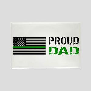 U.S. Flag Green Line: Proud Dad ( Rectangle Magnet
