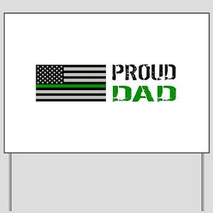 U.S. Flag Green Line: Proud Dad (White) Yard Sign