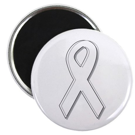 White Awareness Ribbon Magnet