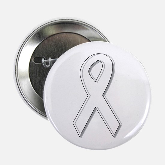 "White Awareness Ribbon 2.25"" Button (10 pack)"