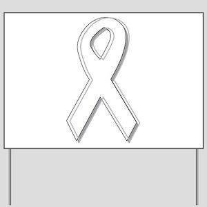 White Awareness Ribbon Yard Sign