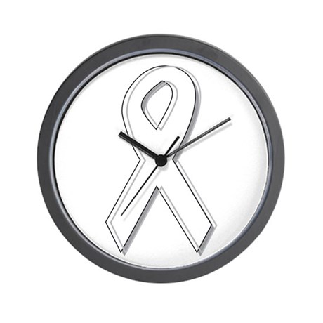 White Awareness Ribbon Wall Clock