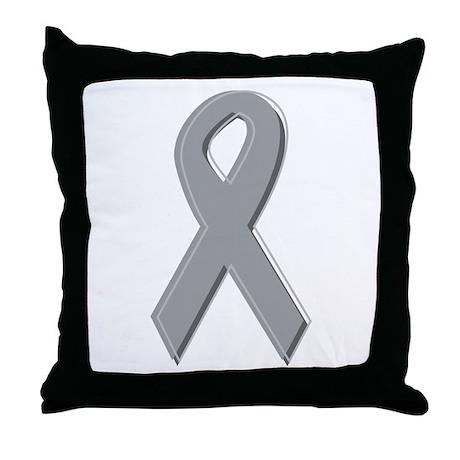 Gray Silver Awareness Ribbon Throw Pillow