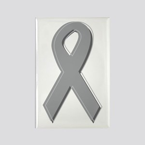 Gray Silver Awareness Ribbon Rectangle Magnet