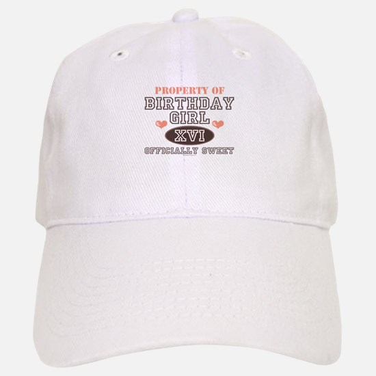 Property Of 16th Birthday Girl Baseball Baseball Cap