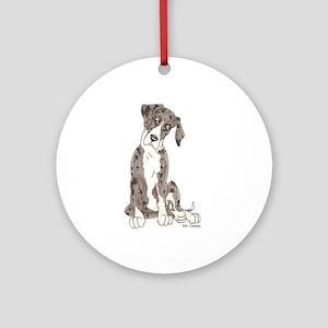 NMtMrl Pup Tilt Ornament (Round)
