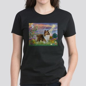 Cloud Angel & Sheltie Women's Dark T-Shirt