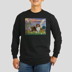 Cloud Angel & Sheltie Long Sleeve Dark T-Shirt