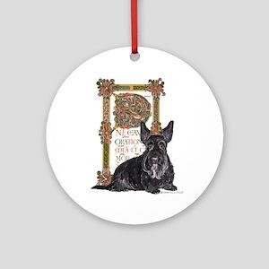 Celtic Dog Scottish Terrier Ornament (Round)
