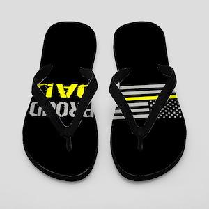U.S. Flag Yellow Line: Proud Dad (Black Flip Flops