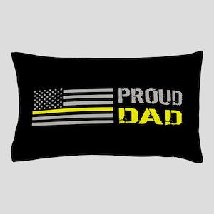 U.S. Flag Yellow Line: Proud Dad (Blac Pillow Case