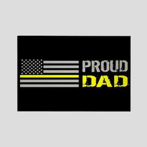 U.S. Flag Yellow Line: Proud Dad Rectangle Magnet