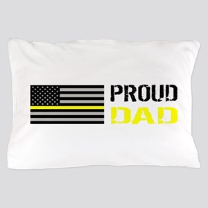 U.S. Flag Yellow Line: Proud Dad (Whit Pillow Case