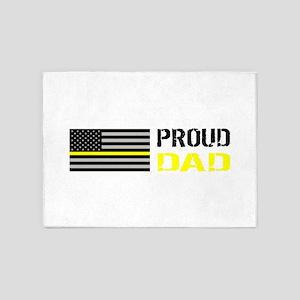 U.S. Flag Yellow Line: Proud Dad (W 5'x7'Area Rug