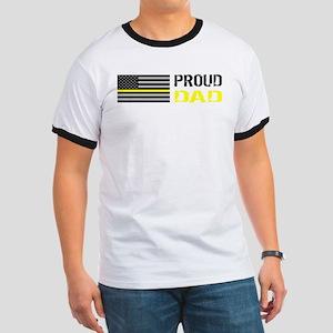 U.S. Flag Yellow Line: Proud Dad Ringer T