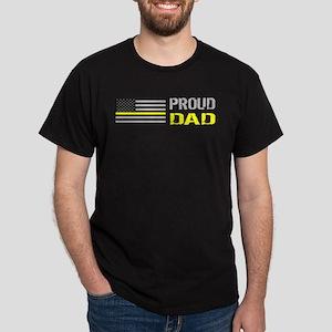 U.S. Flag Yellow Line: Proud Dad Dark T-Shirt