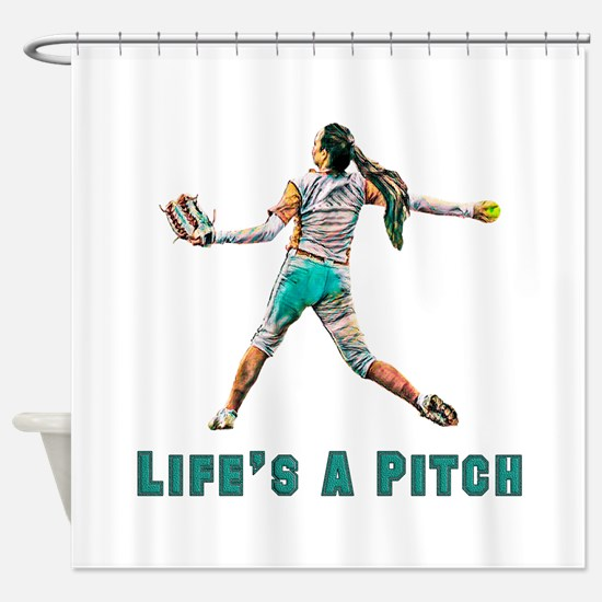 Life's A Pitch Shower Curtain
