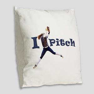 I Pitch! Burlap Throw Pillow