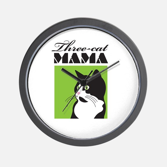 Three-Cat Mama Wall Clock