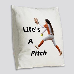 Pitching Is Life Burlap Throw Pillow