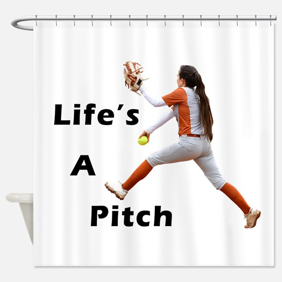 Pitching Is Life Shower Curtain