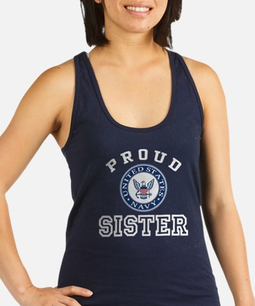 Proud US Navy Sister Racerback Tank Top
