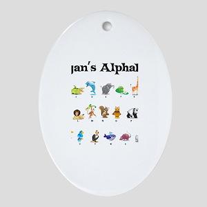 Ryan's Animal Alphabet Oval Ornament