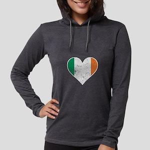 Distressed Irish Flag Heart Long Sleeve T-Shirt