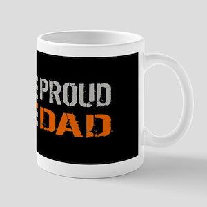 U.S. Flag Orange Line: Proud Dad (Black Mug