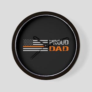 U.S. Flag Orange Line: Proud Dad (Black Wall Clock