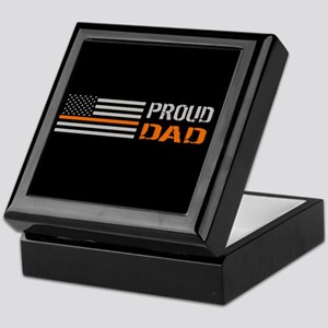 U.S. Flag Orange Line: Proud Dad (Bla Keepsake Box