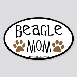 Beagle Mom Oval (black border) Oval Sticker