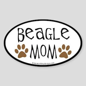 Beagle Mom Oval (black border) Oval Sticker
