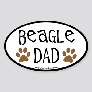 Beagle Dad Oval (black border) Oval Sticker