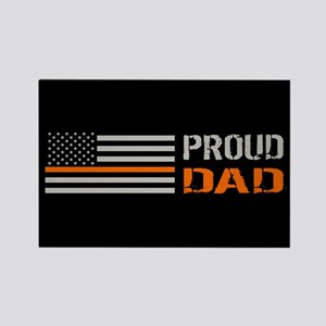 U.S. Flag Orange Line: Proud Dad Rectangle Magnet