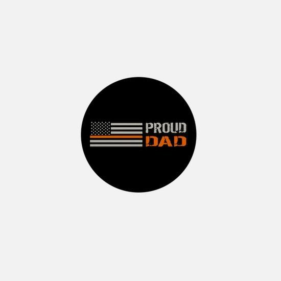 U.S. Flag Orange Line: Proud Dad (Blac Mini Button