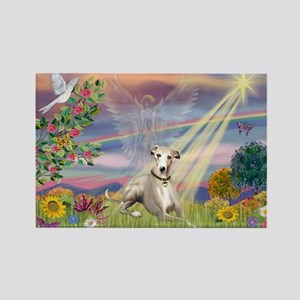 Cloud Angel & Whippet Rectangle Magnet