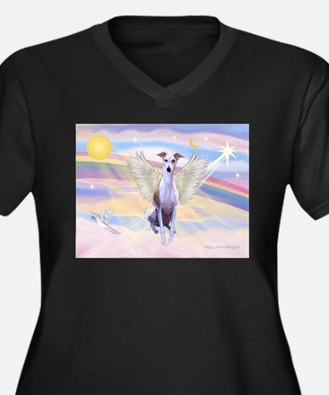 Clouds / Whippet Women's Plus Size V-Neck Dark T-S