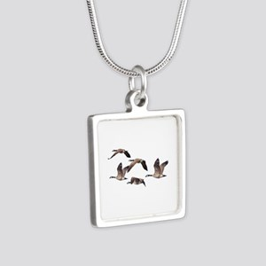 Flock of Canadian Geese Silver Square Necklace
