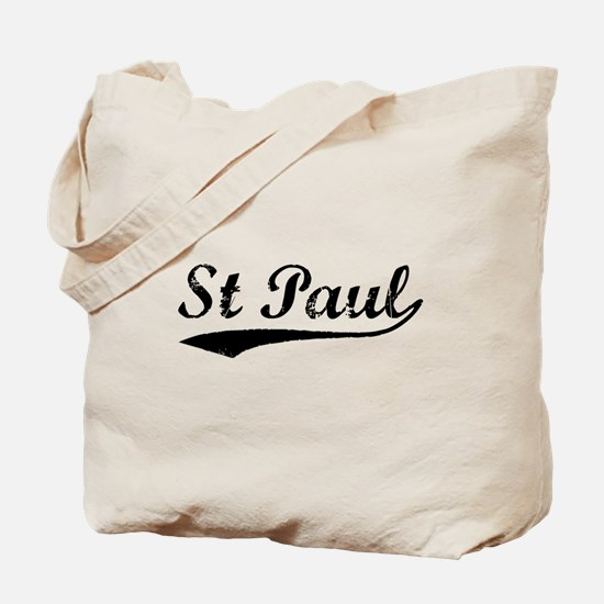 Vintage St Paul (Black) Tote Bag
