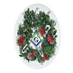 Masonic Porcelain Wreath Oval Ornament