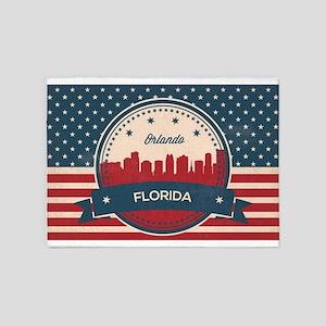 Retro Style Orlando Florida Skyline 5'x7'Area Rug