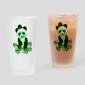 St. Patrick's Day Green Panda Drinking Glass
